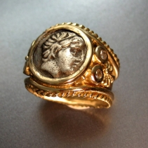 Apollo, Ancient Coin, 14kt Wide Band with Diamonds