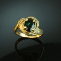 Tourmaline in 14kt Gold Ring, Leaves