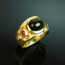 Tourmaline Cabochon, 14kt Gold Wide Band Ring with Rubies and Diamonds