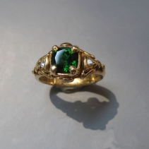 Tsavorite Garnet, Diamond, 14kt Ring