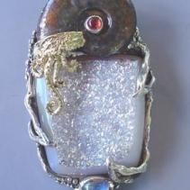 Ammonite, Drusy Agate, SS/14kt Jurassic Classic Pendant