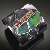 Ammolite, Mokume Gane Sterling Silver Cuff Bracelet