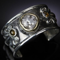 Old Style Athena Tetradrachm, Sterling Silver and 14kt Gold Cuff Bracelet