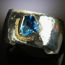 Blue Topaz in Sterling Silver and 14kt Gold Cuff Bracelet