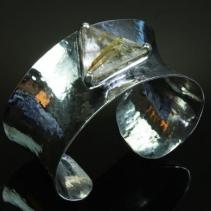 Rutilated Quartz in Sterling in Silver Anticlastic Cuff Bracelet
