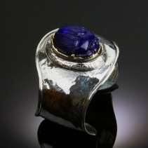 Lapis Scarab in Sterling Silver and 14kt Gold Cuff Bracelet