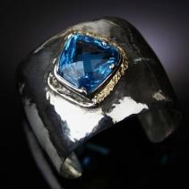 London Blue Topaz, Sterling Silver and 14kt Gold Cuff Bracelet