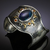 Andamooka Opal in Sterling Silver and 14kt Gold Cuff Bracelet