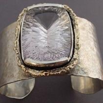 Rose of France Amethyst, Sterling Silver and 14kt Gold Cuff Bracelet
