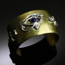 Brass and Sterling Silver Egyptian Bracelet