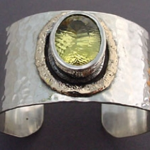 Lemon Citrine, Sterling Silver and 14kt Gold Cuff Bracelet
