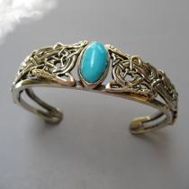 Sleeping Beauty Turquoise, SS Celtic Bracelet