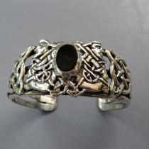 Black Onyx, SS Celtic Bracelet