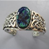Azurite Malachite, Sterling Silver Celtic Knotwork Bracelet
