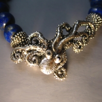 Sterling Silver Octopus Clasp on Lapis Bracelet with Sapphire Eyes
