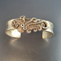 Sterling Silver Octopus Cuff Bracelet with Black Diamond Eyes