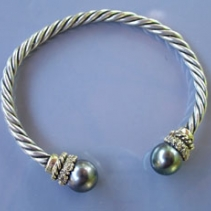 Sterling Silver and 14kt Gold Torque Bracelet with South Seas Pearls