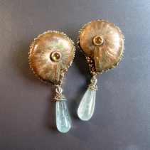 Ammonite Fossil Sterling Silver Earrings with Aquamarine Drops