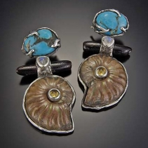 Ammonite fossil, turquoise, black coral, Sterling Silver Earrings