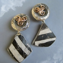 Pre-Pueblo Pottery Shard, Sterling Silver and 14kt Gold Earrings