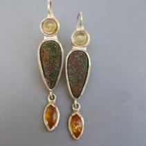 Rainbow Hematite, Citrine, Sterling Silver Earrings