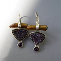 Drusy Agate, Gold Coral, Sterling Silver Earrings