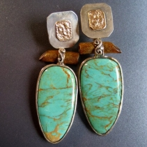 Turquoise, Sterling Silver and 14kt Gold Earrings with Gold Coral