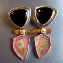 Watermelon Tourmaline, Black Onyx and Gold Coral, Sterling Silver Earrings