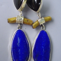 Lapis, Black Onyx and Gold Coral, Sterling Silver Earrings