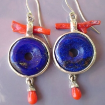 Lapis Doughnuts and Red Coral, Sterling Silver Earrings