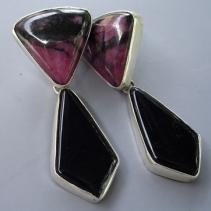 Rhodonite and Black Onyx, Sterling Silver Earrings