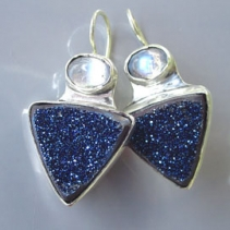 Drusy Agate and Rainbow Moonstones, Sterling Silver Earrings
