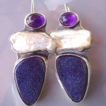 Drusy Agate, Freshwater Pearl and Amethyst, Sterling Silver Earrings