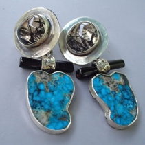 Turquosie, Tourmalinated Quartz and Black Coral, Sterling Silver Earrings