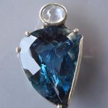 Blue Topaz SS Pendant