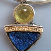 Citrine and Drusy SS/14kt Pendant