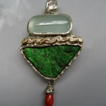 Aquamarine, Uvarovite Garnet SS/14kt Pendant with Coral Drop