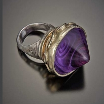Cosmic Spiral Amethyst, Sterling Silver and 14kt Gold Ring