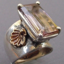 Ametrine, Sterling Silver and 14kt Gold Wide Band Ring