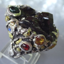 Androdite Garnet Crystal, Sterling Silver Ring with Stones and Gold Nuggets