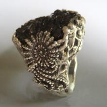 Androdite Garnet Crystal Cluster Sterling Silver Ring