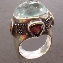Aquamarine Cabochon, Sterling Silver Ring with Garnets and Citrines