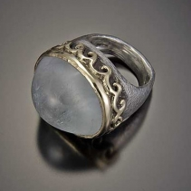 Aquamarine Cabochon, Sterling Silver and 14kt Gold Ring