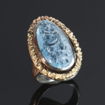 Natural Surface Aquamarine, Sterling Silver and 14kt Gold Ring