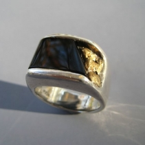 Black Onyx Inlay Sterling Silver Ring wit Gold Nuggets