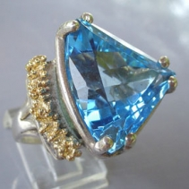 Blue Topaz, Sterling Silver and 14kt Gold Ring
