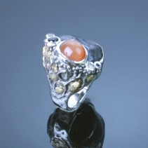 Meteorite, SS Ring with Gold Nuggets and gemstones