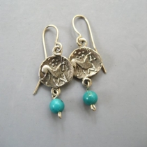 Sterling Silver Celtic Horse Earrings with Turquoise