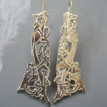 Sterling Silver Celtic Zoomorphic Earrings