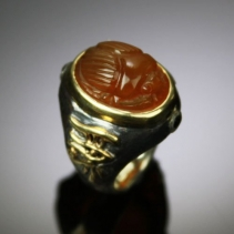 Carnelian Scarab in Sterling Silver and 14kt Gold Ring